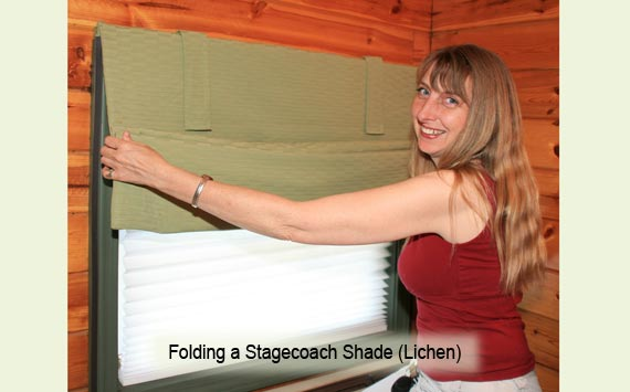 Folding a Stagecoach shade to open it