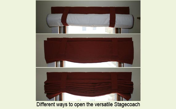 Three ways of opening a Stagecoach shade